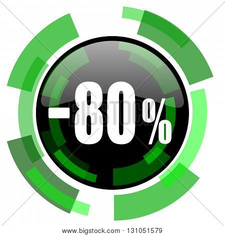 80 percent sale retail icon, green modern design glossy round button, web and mobile app design illustration