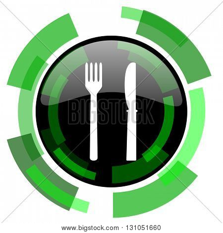 eat icon, green modern design glossy round button, web and mobile app design illustration