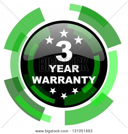 warranty guarantee 3 year icon, green modern design glossy round button, web and mobile app design illustration