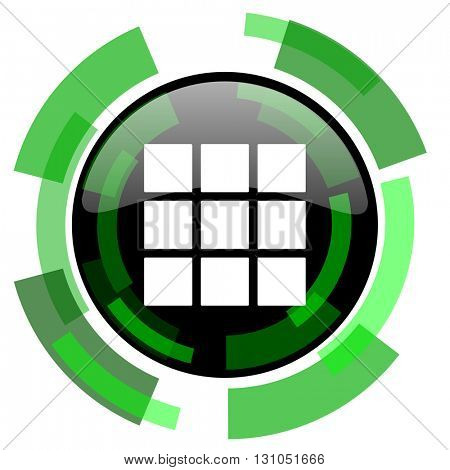 thumbnails grid icon, green modern design glossy round button, web and mobile app design illustration