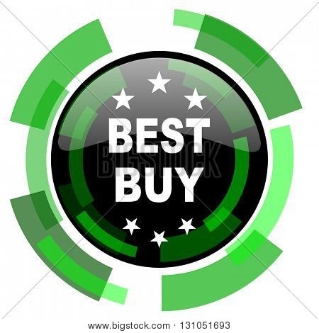 best buy icon, green modern design glossy round button, web and mobile app design illustration