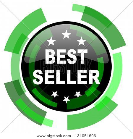 best seller icon, green modern design glossy round button, web and mobile app design illustration