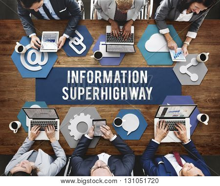 Information Super Highway Communication Network Concept