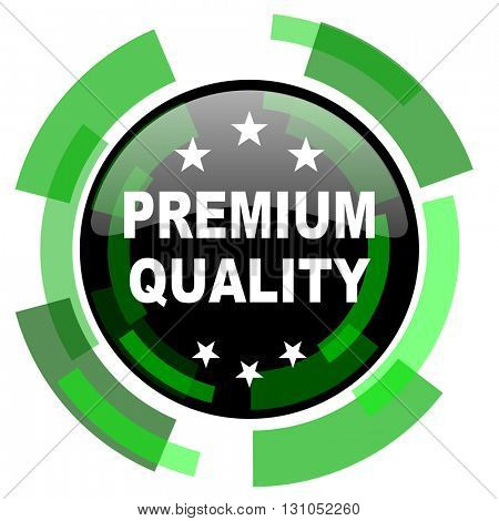 premium quality icon, green modern design glossy round button, web and mobile app design illustration