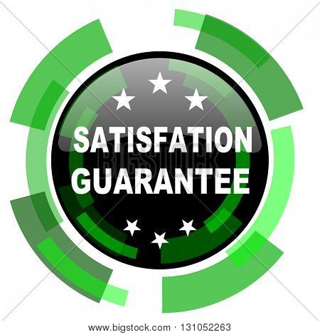 satisfaction guarantee icon, green modern design glossy round button, web and mobile app design illustration