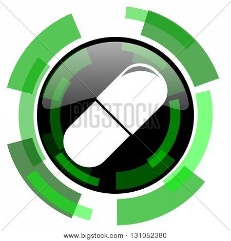 drugs icon, green modern design glossy round button, web and mobile app design illustration