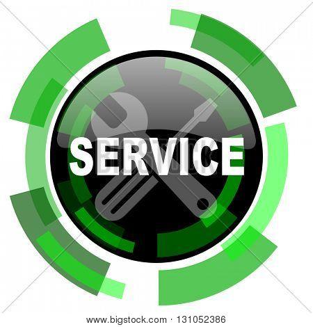 service icon, green modern design glossy round button, web and mobile app design illustration