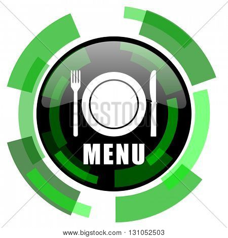 menu icon, green modern design glossy round button, web and mobile app design illustration