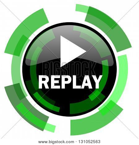 replay icon, green modern design glossy round button, web and mobile app design illustration