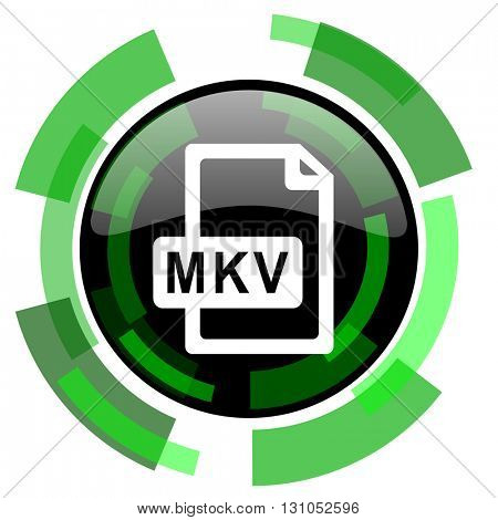mkv file icon, green modern design glossy round button, web and mobile app design illustration