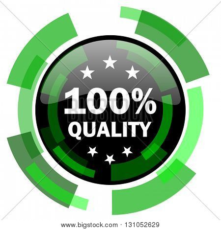 quality icon, green modern design glossy round button, web and mobile app design illustration