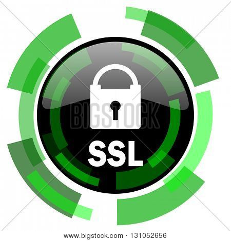 ssl icon, green modern design glossy round button, web and mobile app design illustration