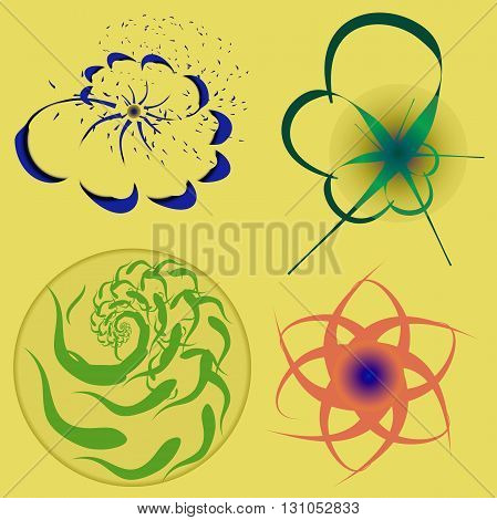 floral logo. four variations of the floral logo for the products of nature or hygiene