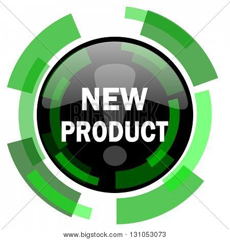 new product icon, green modern design glossy round button, web and mobile app design illustration