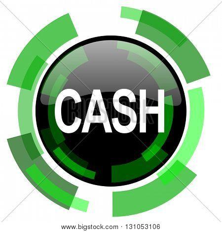 cash icon, green modern design glossy round button, web and mobile app design illustration
