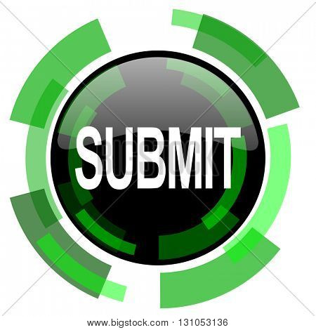 submit icon, green modern design glossy round button, web and mobile app design illustration