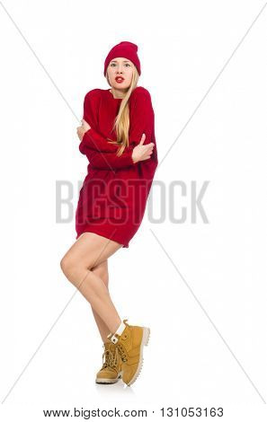 Pretty girl in red dress isolated on white