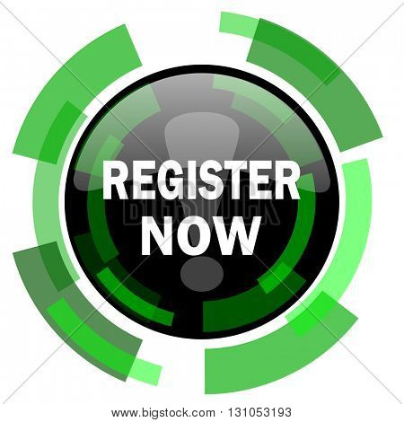 register now icon, green modern design glossy round button, web and mobile app design illustration