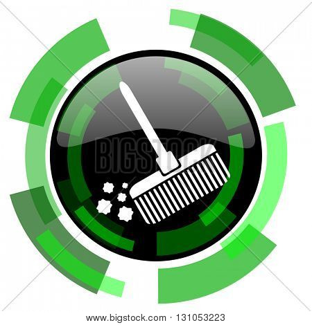 broom icon, green modern design glossy round button, web and mobile app design illustration