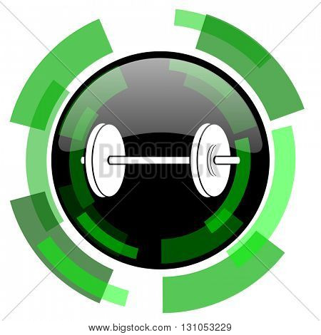 fitness icon, green modern design glossy round button, web and mobile app design illustration