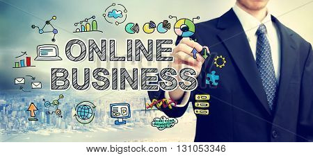 Businessman Drawing Online Business Concept