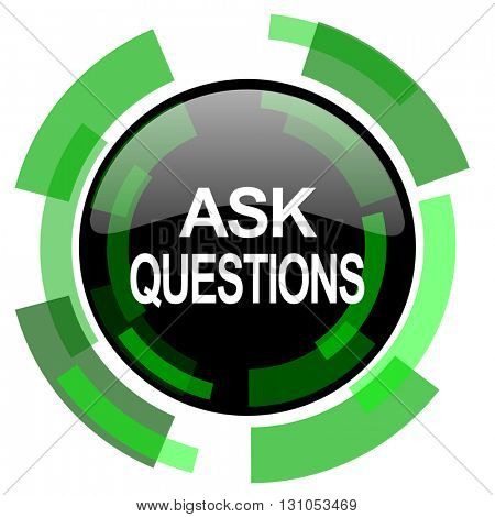 ask questions icon, green modern design glossy round button, web and mobile app design illustration