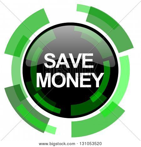 save money icon, green modern design glossy round button, web and mobile app design illustration