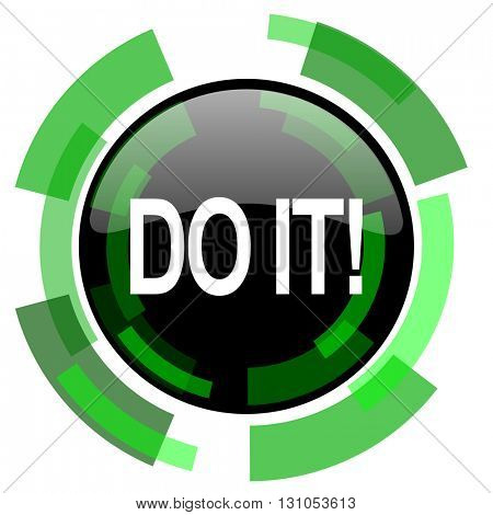 do it icon, green modern design glossy round button, web and mobile app design illustration