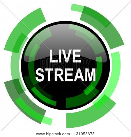 live stream icon, green modern design glossy round button, web and mobile app design illustration