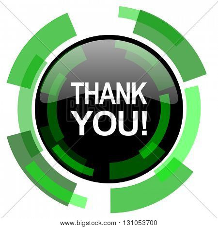thank you icon, green modern design glossy round button, web and mobile app design illustration