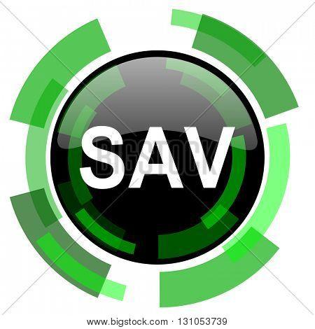 sav icon, green modern design glossy round button, web and mobile app design illustration