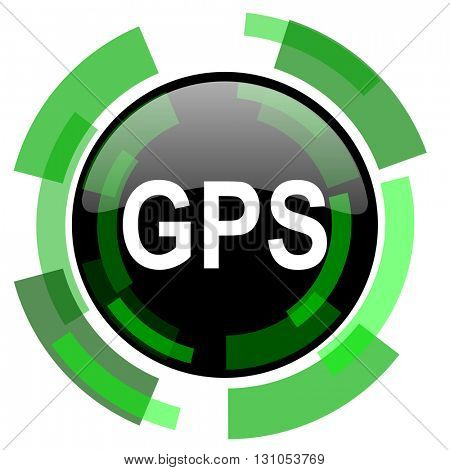 gps icon, green modern design glossy round button, web and mobile app design illustration