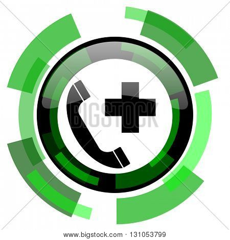emergency call icon, green modern design glossy round button, web and mobile app design illustration