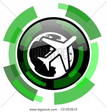 travel icon, green modern design glossy round button, web and mobile app design illustration