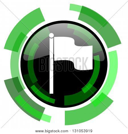 flag icon, green modern design glossy round button, web and mobile app design illustration