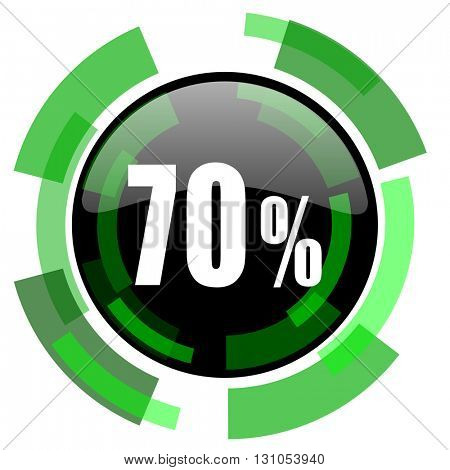 70 percent icon, green modern design glossy round button, web and mobile app design illustration