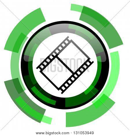 film icon, green modern design glossy round button, web and mobile app design illustration