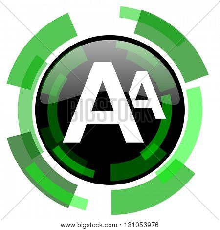 alphabet icon, green modern design glossy round button, web and mobile app design illustration