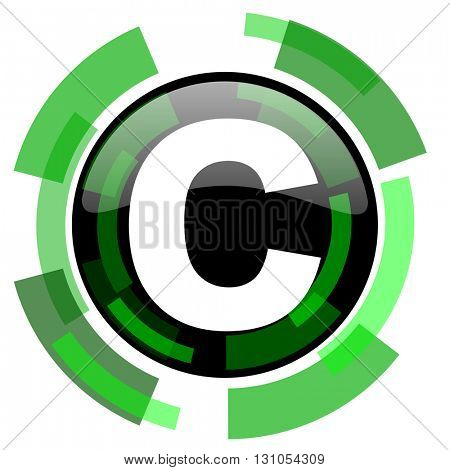 copyright icon, green modern design glossy round button, web and mobile app design illustration