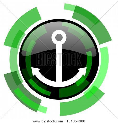 anchor icon, green modern design glossy round button, web and mobile app design illustration
