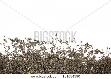 Pile of dry tea, isolated on white