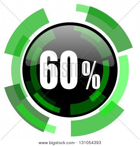 60 percent icon, green modern design glossy round button, web and mobile app design illustration