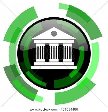 museum icon, green modern design glossy round button, web and mobile app design illustration