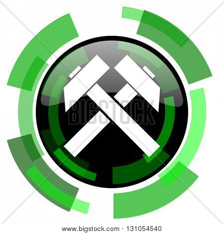 mining icon, green modern design glossy round button, web and mobile app design illustration