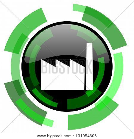 factory icon, green modern design glossy round button, web and mobile app design illustration
