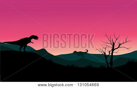 allosaurus at morning scenery silhouette with pink backgrounds