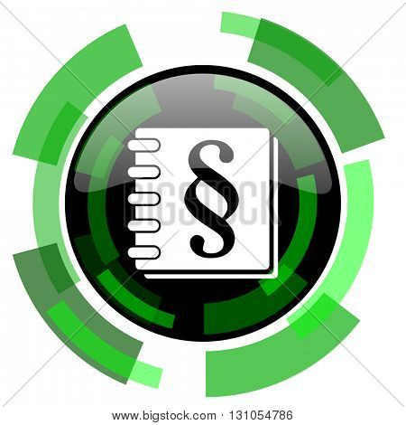 law icon, green modern design glossy round button, web and mobile app design illustration