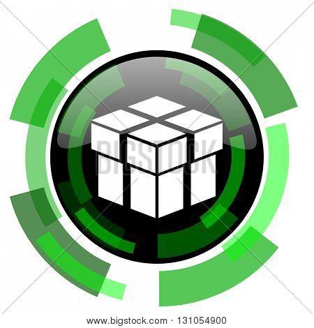 box icon, green modern design glossy round button, web and mobile app design illustration