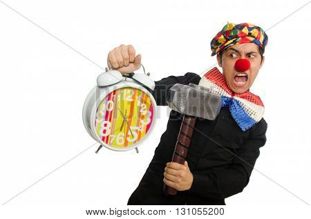 Funny clown with hammer and clock on white