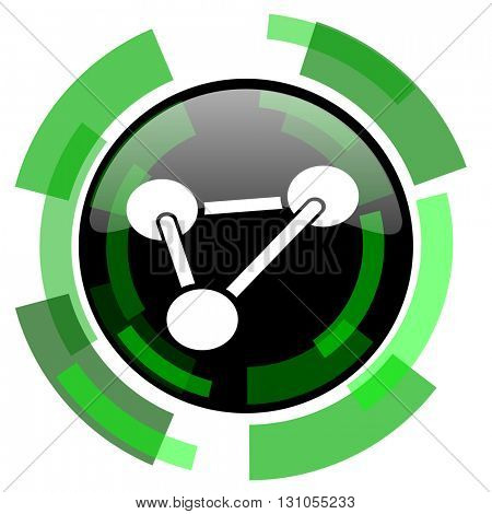 chemistry icon, green modern design glossy round button, web and mobile app design illustration